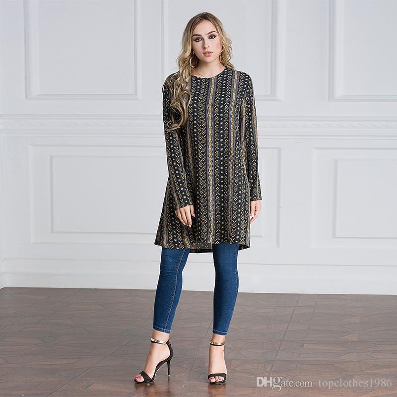 2018Top kalite kadın Artı Boyutu Gömlek 7XL 6XL 5XL 4XL 3XL-M Islam Müslüman Uzun kollu Uzun gömlek Elbise kadın Moda Baskılı Gömlek Bluz