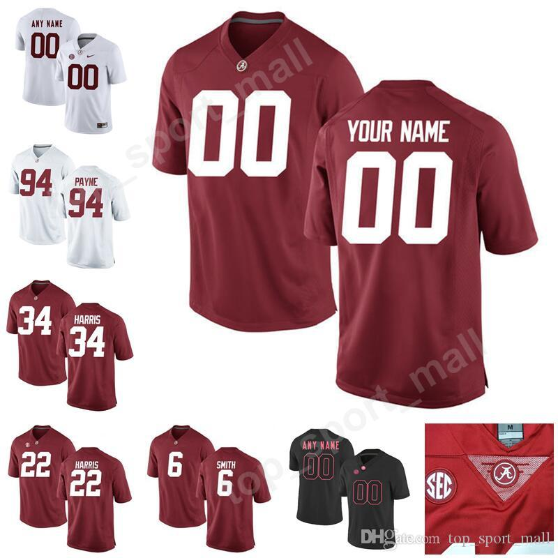 newest e72db 2aad7 Alabama Crimson Tide 34 Damien Harris Jersey Men College Football Custom  Any Name Number Kids 6 Devonta Smith 94 Da'Ron Payne Najee Harris
