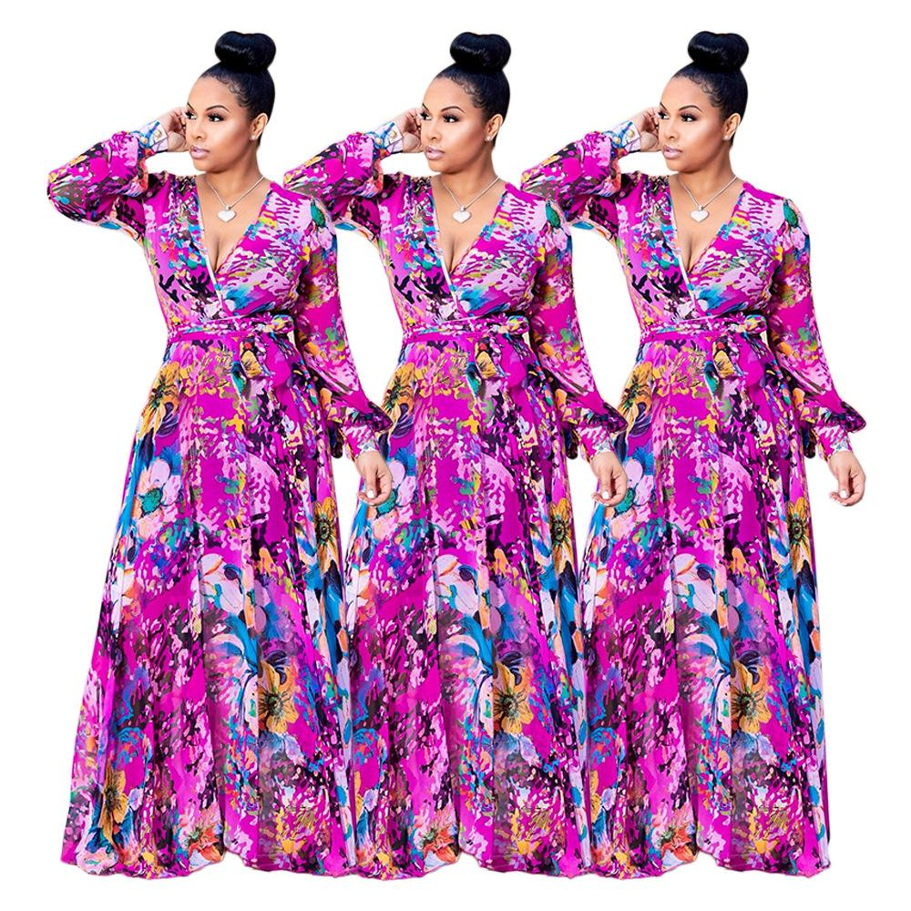 4a07ce3d33d6a A600 New Style Women S Casual Clothing Long Sleeved Deep V Ice Silk Chiffon  Floral Dress White Dress Woman Long Dress Women From Meimeiyi
