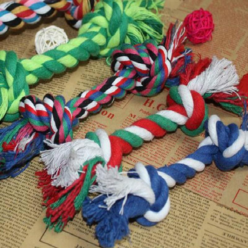 17CM Pets dogs pet supplies Pet Dog Puppy Cotton Chew Knot Toy Durable Braided Bone Rope Funny Tool Random Color