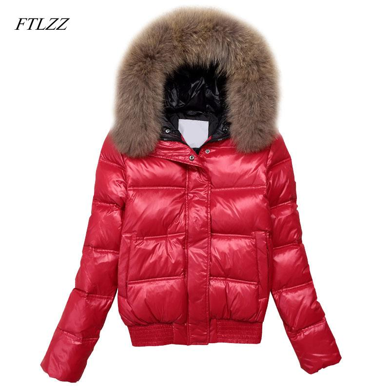 abfb9044011 FTLZZ Hooded Real Raccoon Fur Winter Jacket Women Long Sleeve Slim ...