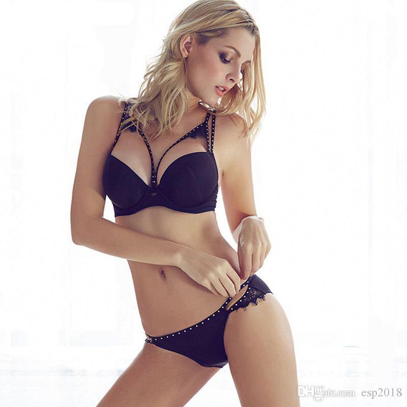 bcb76946da 2016 Sexy Women Hot Seamless Bra Set 3 4 Cup adjustable Push up Vs Bra  Lingerie Underwear Sets For Women 70-85A B C D Cup