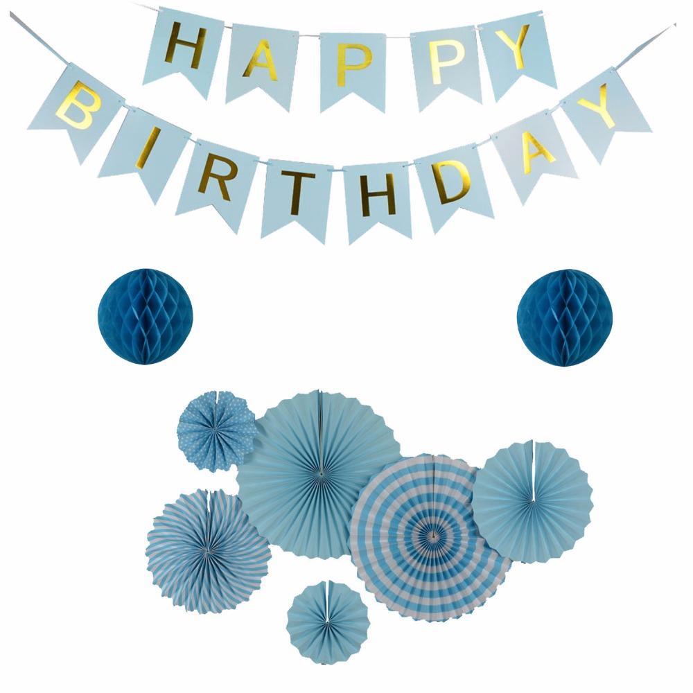 / Set vert / violet / bleu clair Set fans de papier suspendus pour la décoration de fête bannière joyeux anniversaire pour enfants événement Baby Shower