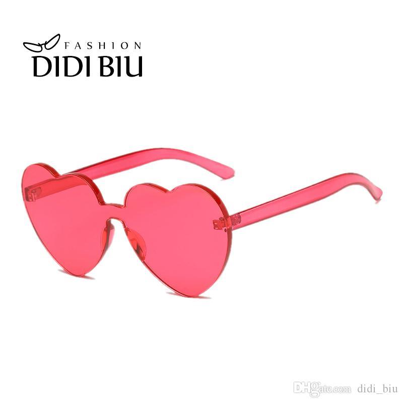 3f2c493fb8a2f Compre DIDI Oversize Integrado Coração Em Forma De Óculos De Sol Das  Mulheres Marca Transparente Óculos Doces Cor De Plástico Quadro Óculos  Oculos WL878 De ...