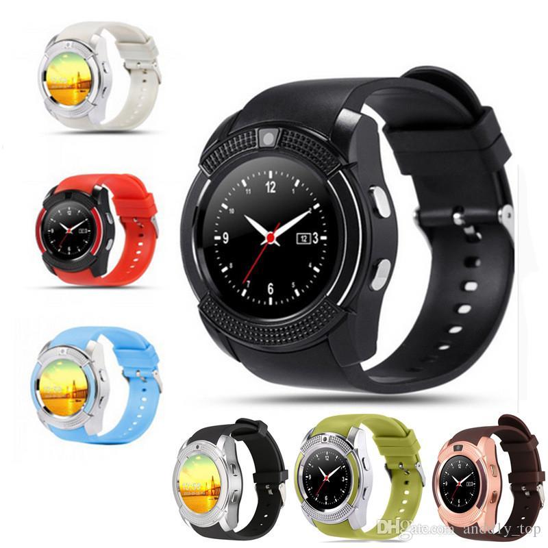 Умные Часы Watch V8 Смарт Часы Bluetooth SmartWatch С 0.3 M Камеры SIM IPS  HD Полный Круг Дисплей Смарт Часы Для Android Системы С Коробкой Умные Часы  ... a36304fcd70fc