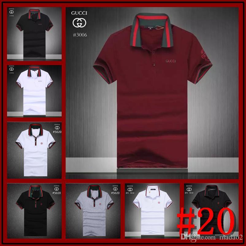 725e4000e 2018 luxury New Brand crocodile Polo Shirt Men Short Sleeve Casual Shirts  Man's Solid classic t shirt Size M-2XL