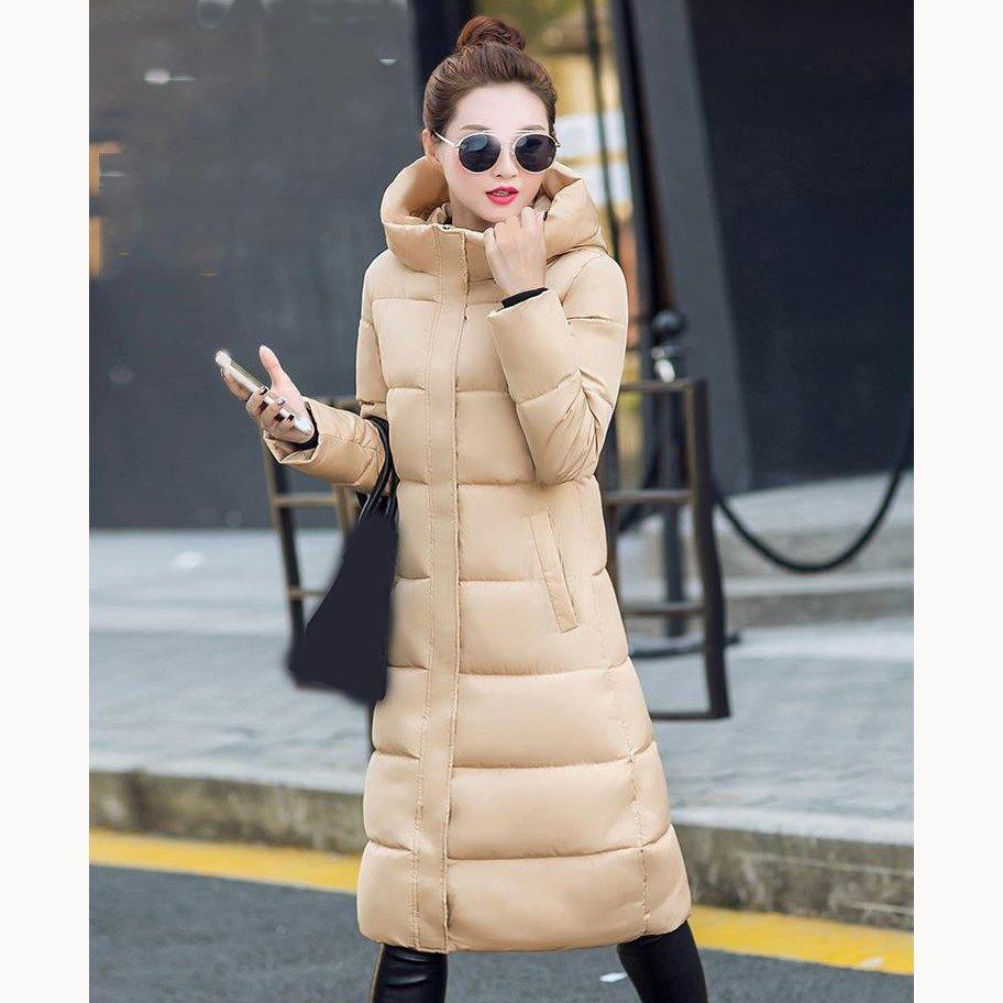 4dbb7a19f25dd Acheter 2018 Nouvelle Mode Hiver Femmes Manteau À Capuchon Chaud Épais  Longues Parkas Manteau Solide Femelle Pardessus Coton Veste Rembourrée De   40.77 Du ...