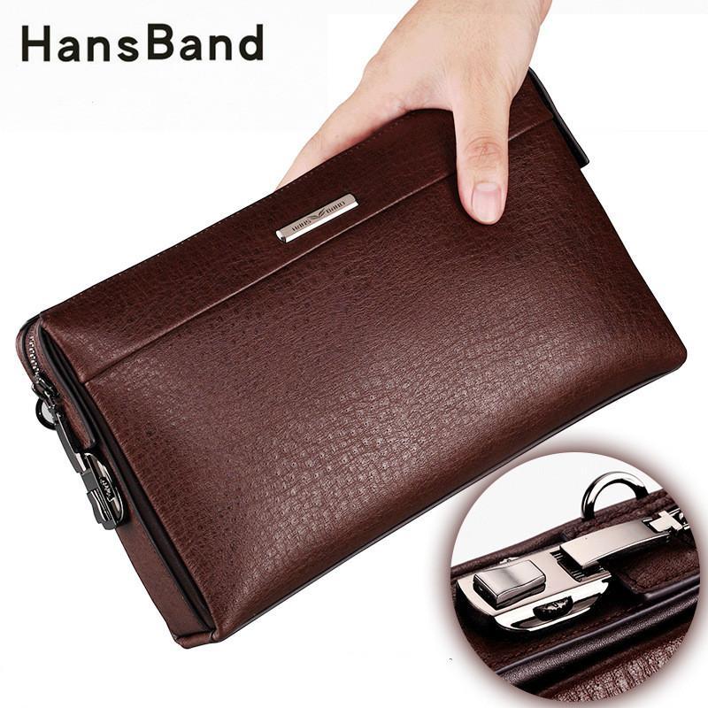 9aa0a8b95b4b Hansband Genuine Leather Password Lock Wallet Male Passport Card Holder  Money Coin Purses Phone Cases Wrist Men Clutch Bags Pierre Cardin Wallet  Black ...