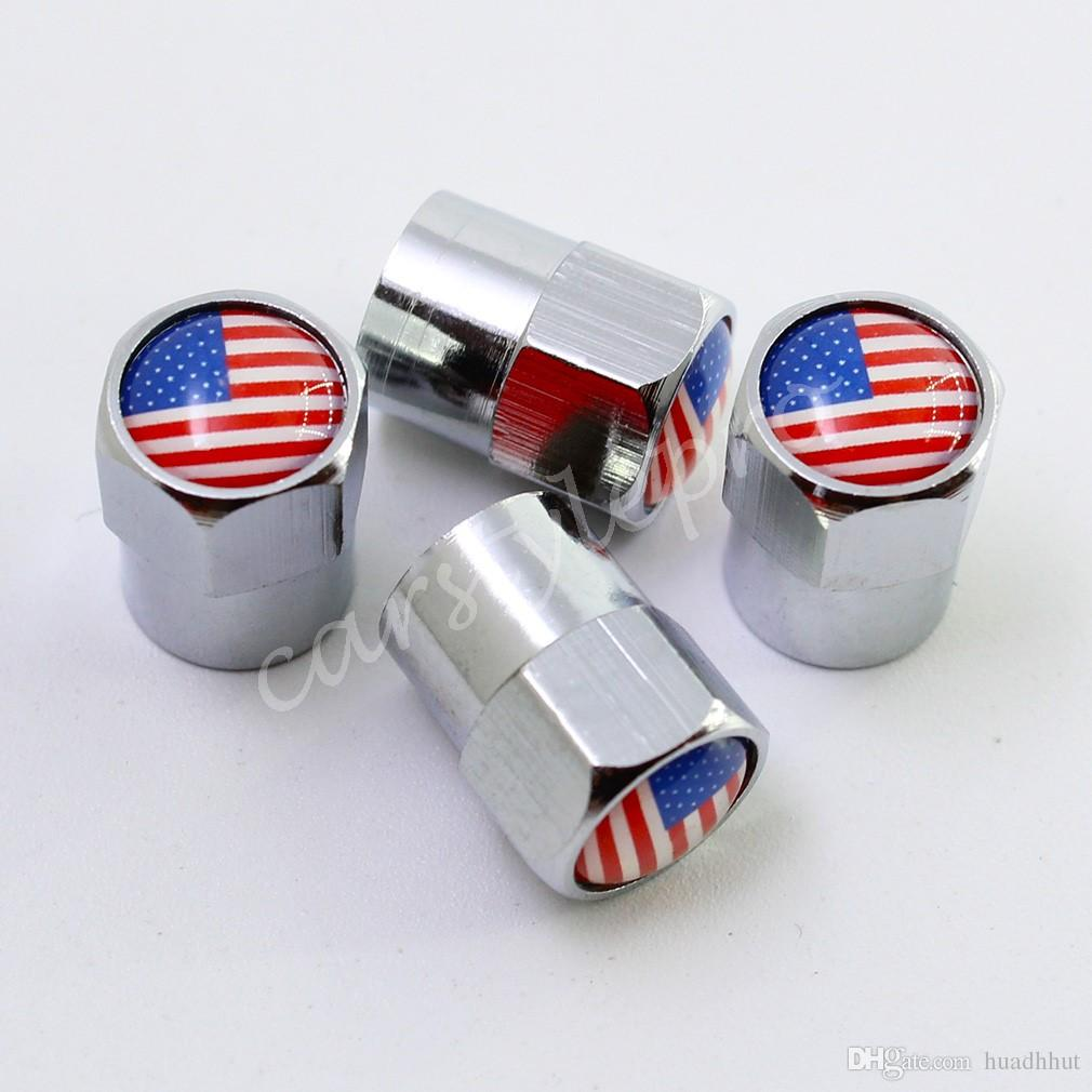 Auto Universal Metal Silver Tire Stem Valve Cap Cover Us Flag Style