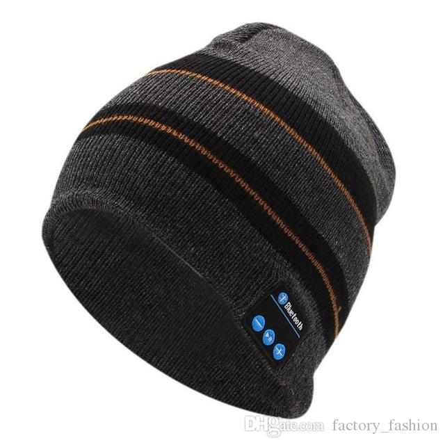 Wholesale Bluetooth Music Beanie Hats Wireless Smart Cap Headset Headphone Speaker Microphone Handsfree Music Hat Striped Free Drop Shipping