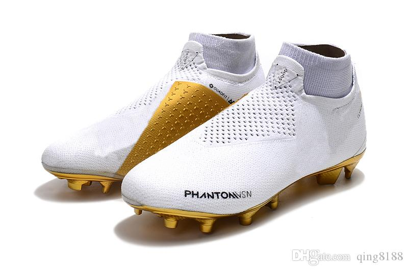 2019 Original Phantom Vision Elite DF FG Soccer Cleats Leather Soccer Shoes  Mens Socks Laceless Phantom VSN High Ankle Football Boots From Qing8188 5a941bab15f
