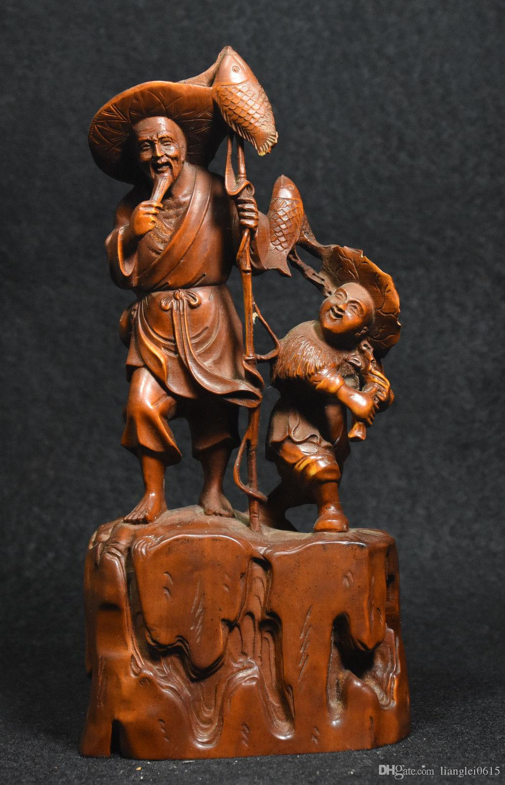 2018 8 chinese boxwood carved fisherman fisher old man kid boy