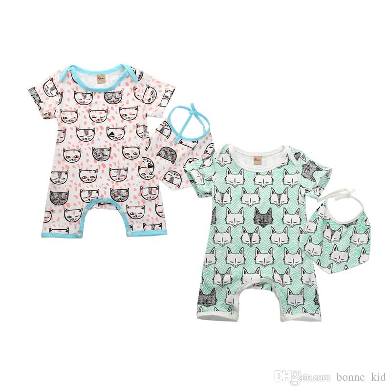 98cdbc5b4 Animal Baby Rompers with Bibs Boys Girls Cotton Fox Jumpsuits ...