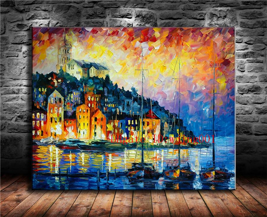 Small Town Harbor , Canvas Pieces Home Decor HD Printed Modern Art Painting on Canvas (Unframed/Framed)