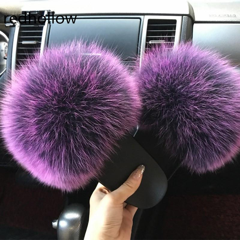bbb7387e4 2018 Hot Sale Thickness Bottom Women Fur Slippers Luxury Real Fox Fur Beach  Sandal Shoes Fluffy Comfy Furry Flip Flops Formal Shoes Rubber Boots From  ...