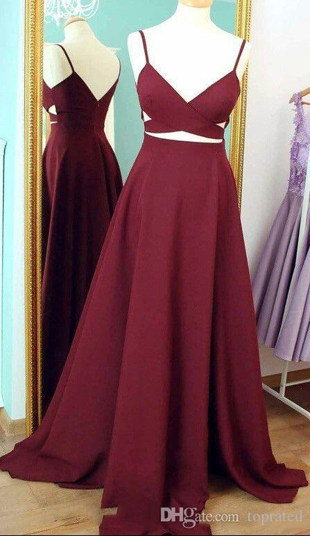 2019 New Sexy Spaghetti Straps Satin Long Prom Dresses Burgundy Cutout A Line Floor Length Party Evening Dresses