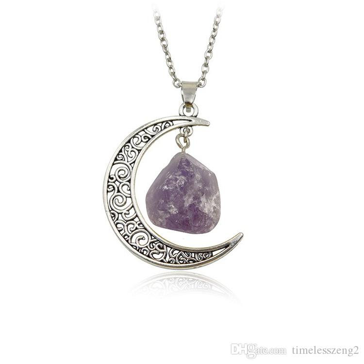 Natural Stone Moon Necklace Irregular Natural Stone Vintage Moon Pendant Multicolor With Silver Antique Bronze Chains Jewelry