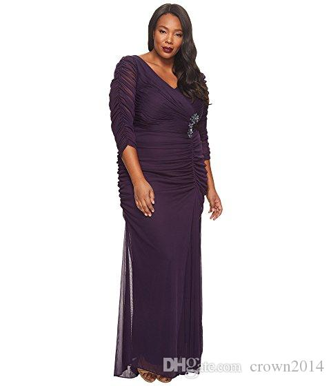 Sexy Dark Purple Plus Size 3 4 Sleeve Mother Of The Bride Dresses Beaded V Neck Side Drape Long Sheath Formal Gown Cheap Custom Made