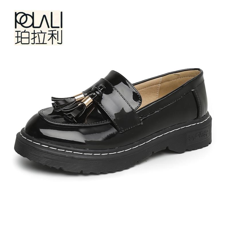 a1a589abeac POLALI Big Size43 Women Oxfords Flats Platform Shoes Patent Leather Tassel  Slip On Pointed Creeper Black Brogue Loafers Brand Shoe Boots Sexy Shoes  From ...