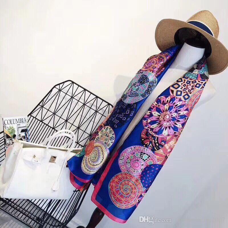 Марка шелковый шарф высокого качества женщин бренд красочный платок шарфы пашмины мода долго кольцо Рождественский подарок оптовой A16