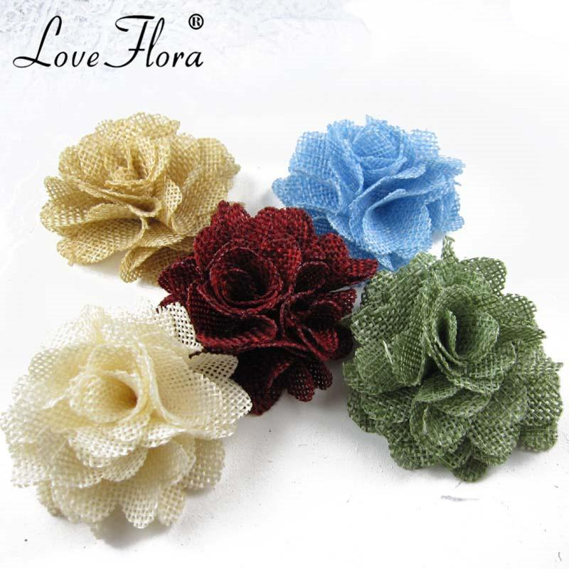 Free shipping!24pcs/lot 6cm flax flowers burlap fabric flowers hair accessory