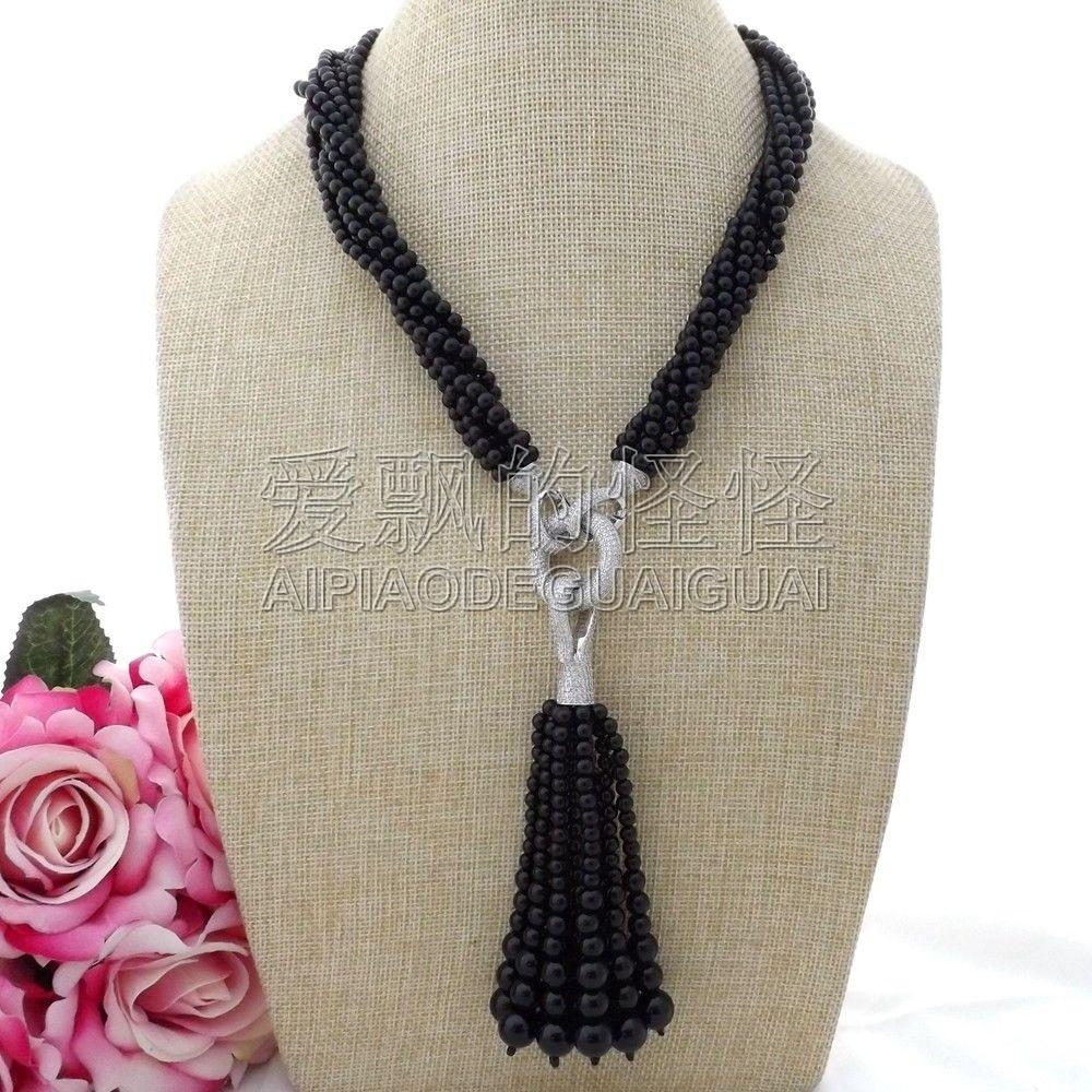 "N110101 20"" 7Strands 4mm Onyx Necklace CZ Pendant"