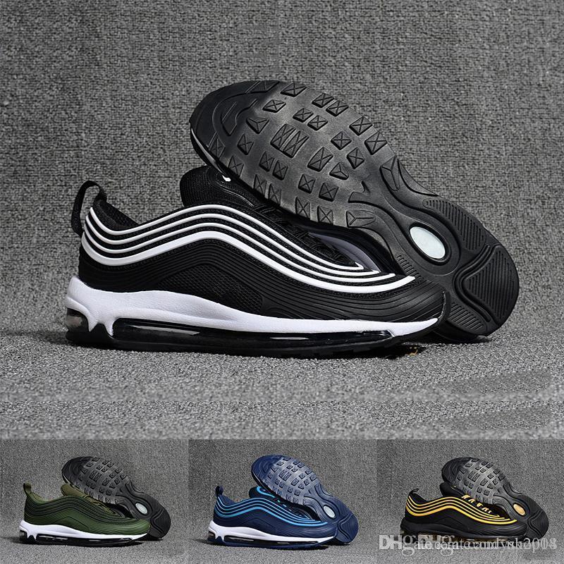 29544237512875 Acheter Nike Air Max Sneaker Classic 97 Chaussures Hommes Et Femmes Black  Gold White Coach De Sport Chaussures De Course En Résille Amorties Silver  Bullet ...