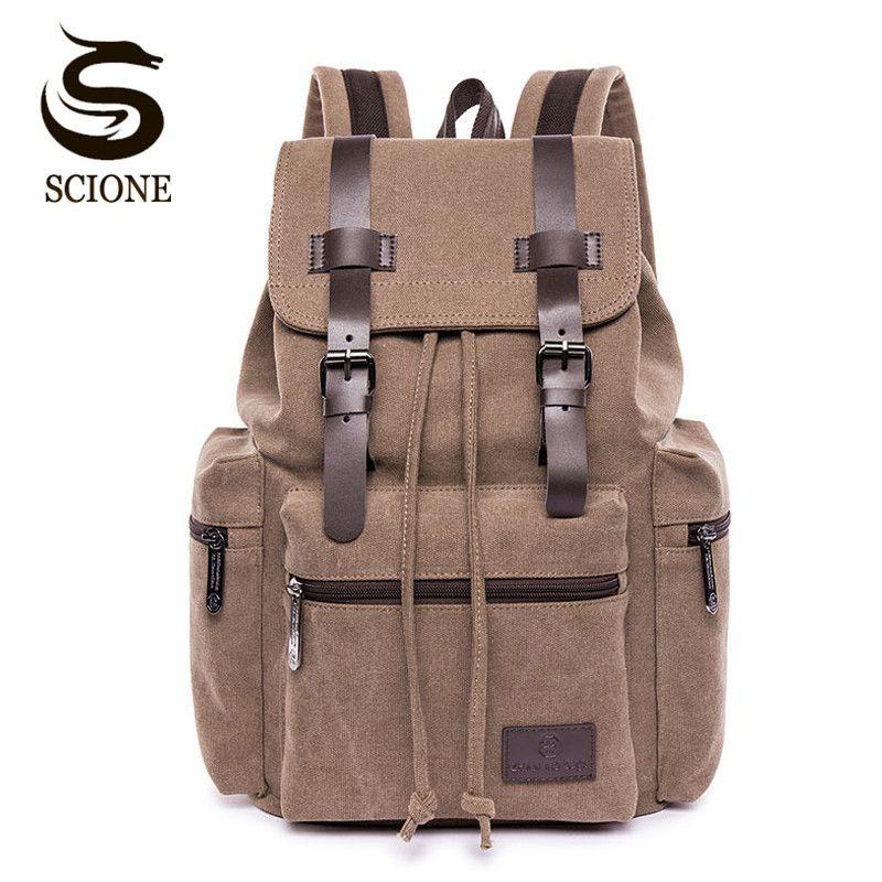 cde7ad048f7 Scione Casual Men Canvas Backpack Male School Bag Mens Vintage Backpack for  Women Female Travel Rucksack School Laptop Backpacks