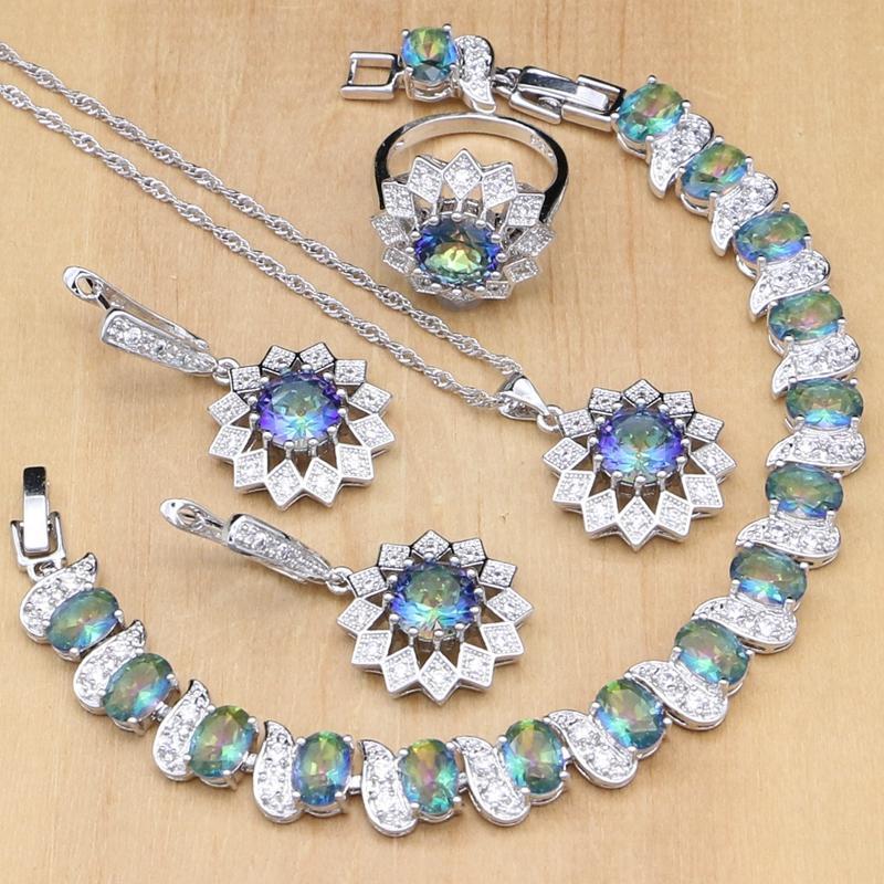 7d2cd3a55111 Girasol Plata 925 Joyería Mystic Rainbow Crystal Conjuntos de Joyas  Decoración Para Mujeres Pendiente / Colgante / Anillo / Pulsera / Collar ...
