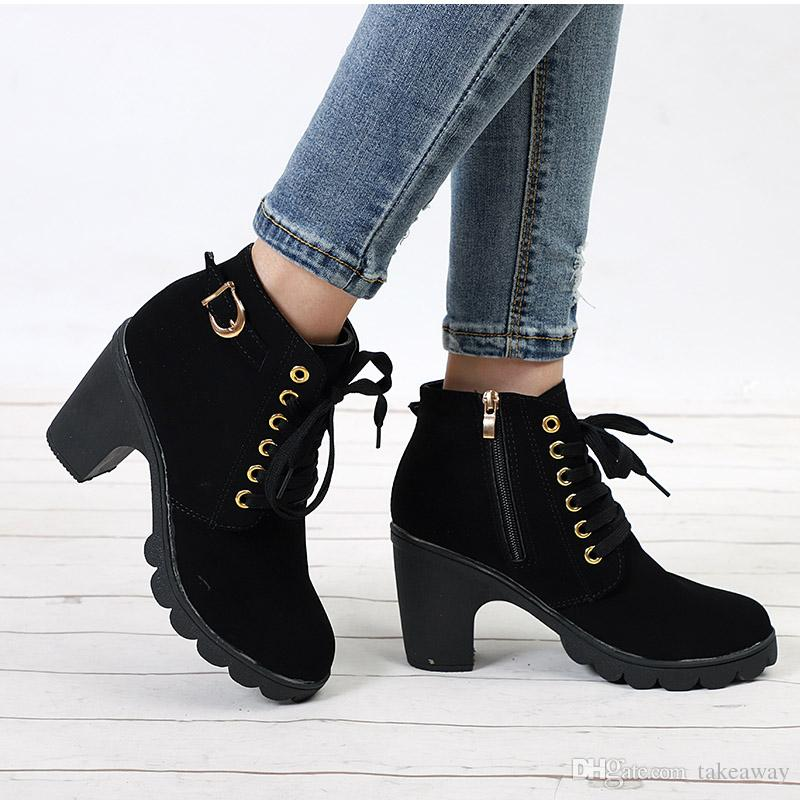 075b87809a340 Plus Size Ankle Boots Women Platform High Heels Lace Up Buckle Strap Shoes  Thick Heel Short Boot Ladies Zipper Footwear