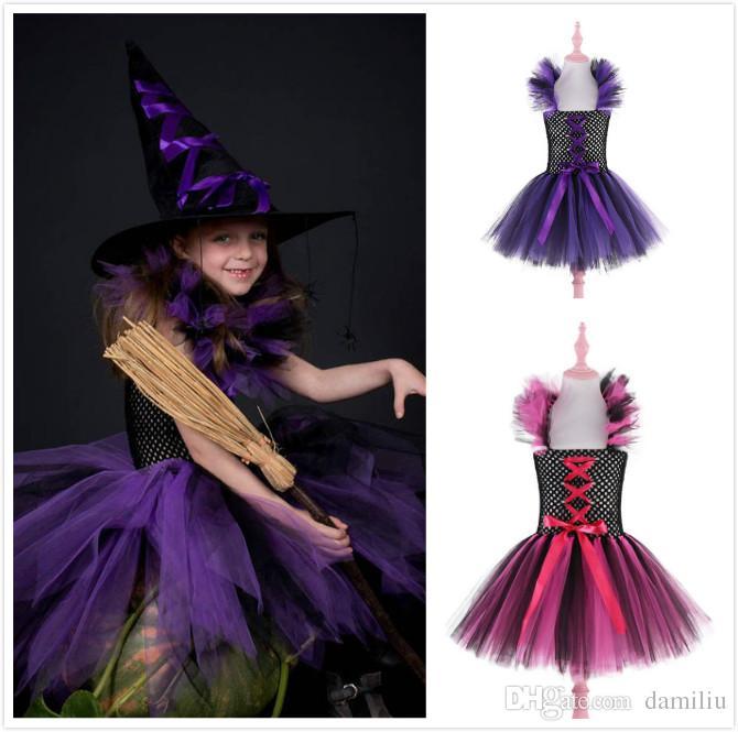 Compre Disfraz De Bruja Bebe Disfraz De Halloween Para Ninas Vestido - Disfraz-de-bruja-para-bebe