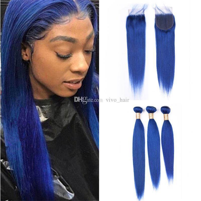 2018 Brazilian Blue Human Hair Straight Lace Closure And Bundles