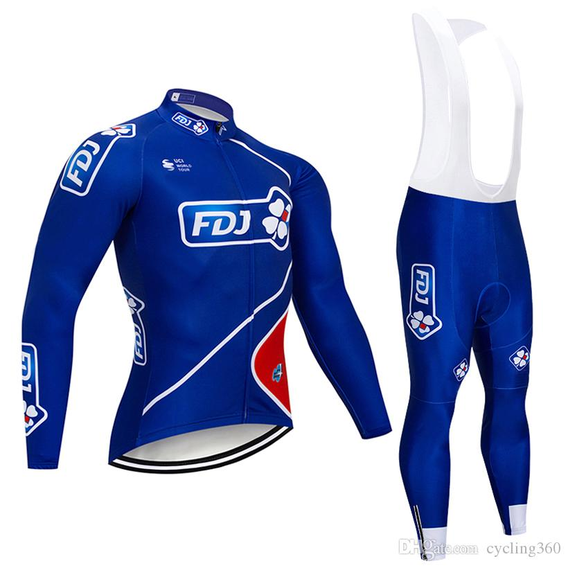 Free Shipping 2019 FDJ TEAM cycling jersey bike pants set Winter thermal fleece cycling wear MTB pro bike clothing
