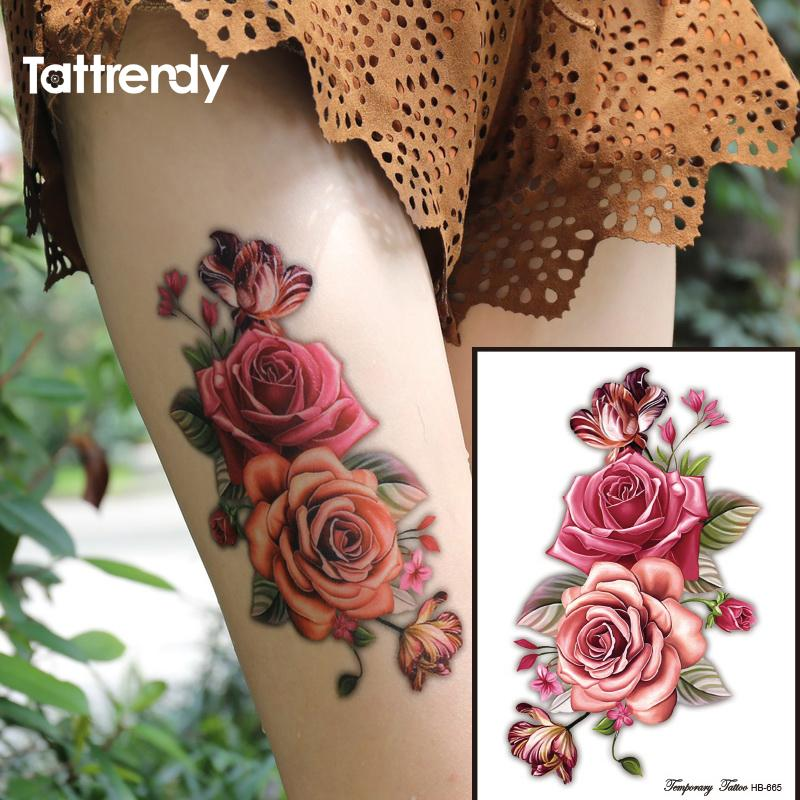 Indian Arabic Fake temporary tattoos stickers 3D rose flowers arm shoulder tattoo waterproof for women big on body HB665