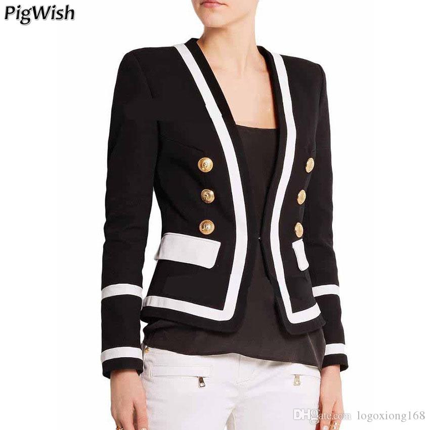 Suits & Sets Newest 2019 Baroque Designer Blazer Womens Breasted Color Gold Metal Lion Buttons Double Blazer Jacket Fixing Prices According To Quality Of Products