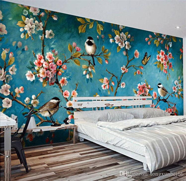 Photo Wallpaper 3D Stereo Chinese Flowers Birds Mural Bedroom Living Room New Design Texture Wallpaper Papel De Parede Floral 3D