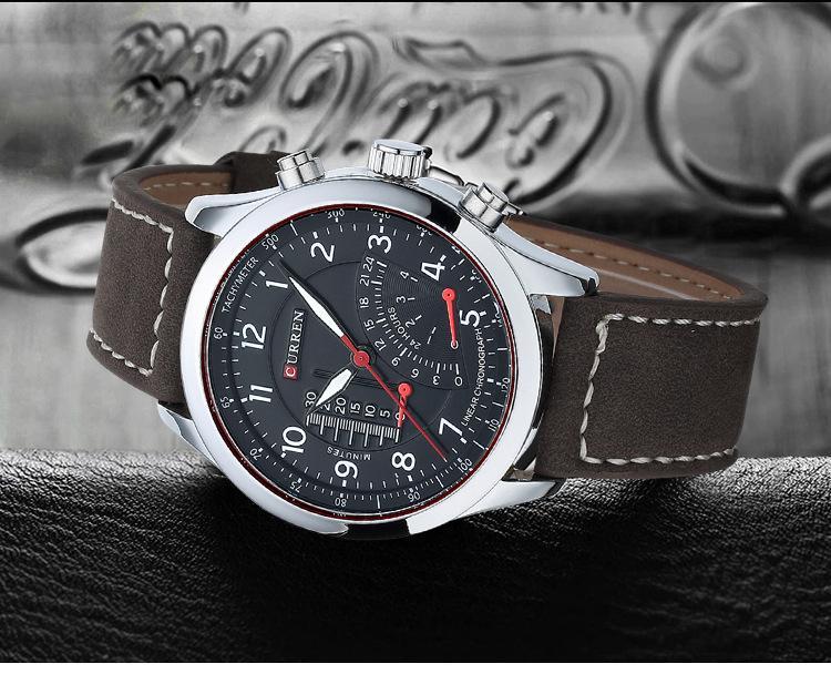 DHL Gratuit CURREN 8152 Hommes Montres Marque De Luxe Horloge Mâle Bracelet En Cuir trois Cadran Militaire Imperméable À L'eau Montre-Bracelet Sport À Quartz Mince Montre
