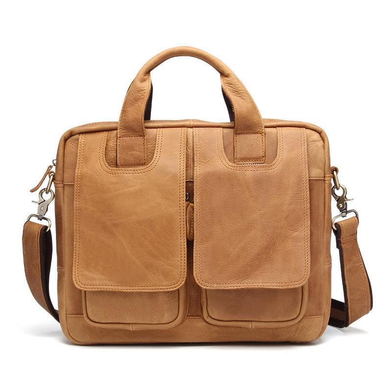 Bolso de cuero genuino de los hombres Business Tote Briefcases messenger Bag Horse Leather marcas famosas de alta calidad grande Multifunción