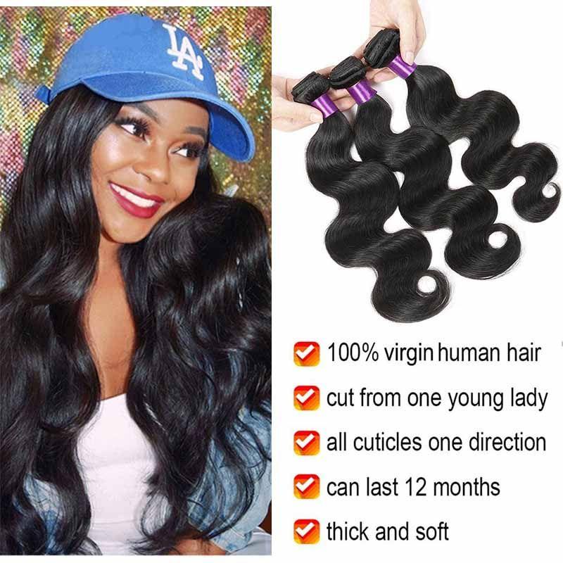 Brazilian Virgin Human Hair Weave 3 Bundles Unprocessed Brazillian