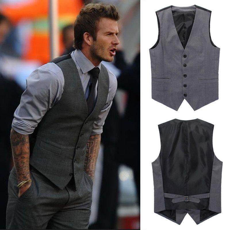 61698de830729 Compre Chaleco De Traje De Ocio De La Moda De Los Hombres Chaleco De Traje  De Caballero De La Boda De Los Hombres Beckham Con Hombres Con Cuello En V  A ...