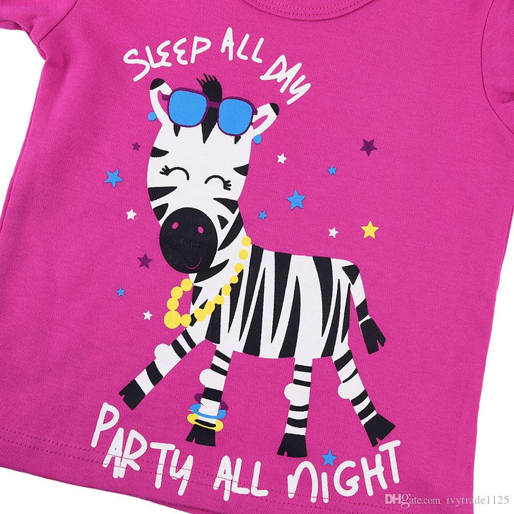 Nuovi arrivi Abbigliamento bambini 100% Cotone manica corta animali cartoon zebra stampa ragazza s set causale estate ragazza set maglietta + pantalone