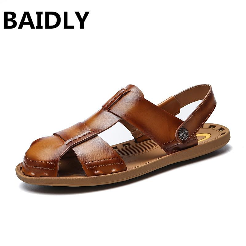 d1280eeb9 BAIDLY Genuine Leather Men Sandals Summer New Beach Male Shoes Mens  Gladiator Sandals Real Leather High Quality Jelly Sandals Platform Sandals  From Annawawa ...