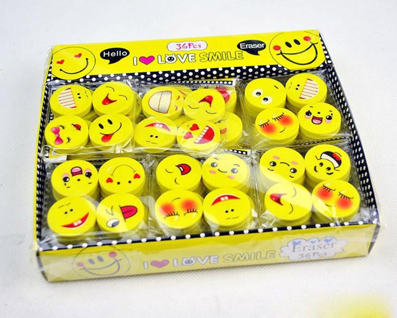 Hot Sale Emoji Rubber Eraser Emotion Kawaii Eraser Pencil Novelty Stationery School Supplies tudents Kids Stationery Toys Prize