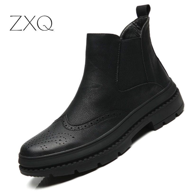 9397671d22 Compre Chelsea Botas Homens Sapatos De Inverno Preto Microfibra Botas De  Couro Dos Homens Calçado Brogues Oxford À Prova D  Água Quente Para Os  Homens De ...