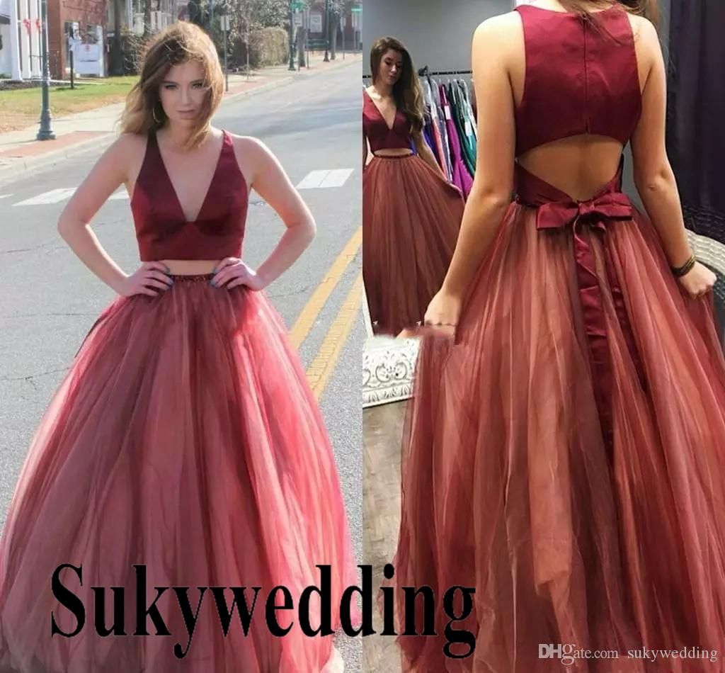 55c9fed1a1 2019 Burgundy Tulle Prom Dresses Two Pieces Sexy Deep V Neck A Line Long  Evening Formal Party Gowns Open Back Special Occasion Dress Online Dress  Open Back ...