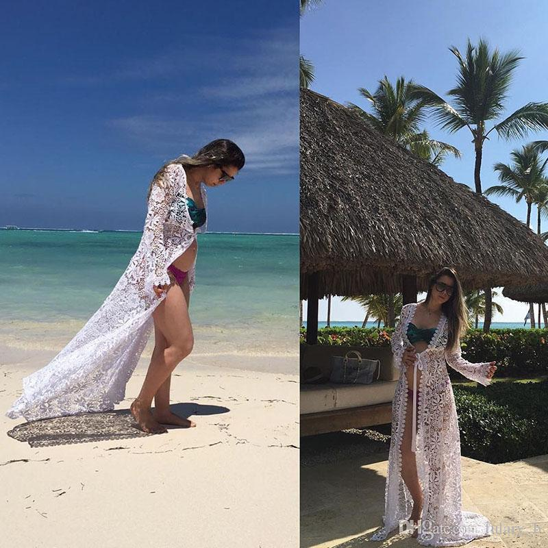 Summer Beach Bikini Hauts Bohème robe Femmes crochet Dentelle broderie longue Cardigan Creux blanc noir Maillots de bain Maillots de bain