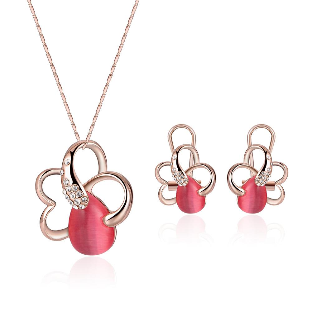 2018 Fashion Rose Gold Color Red Opal Stone Jewelry Set For Women