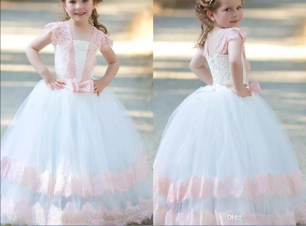 b8e7e0a140d Pink White Ball Gown Flower Girls Dresses Lace Tulle Floor Length Children  Birthday Wedding Party Dresses With Bow Zipper Up Girls Pageant Dress  Infant ...