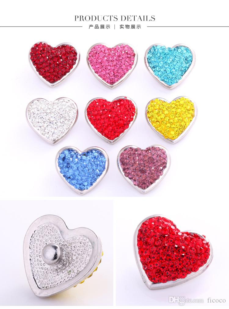 Bulk Lots 23*21*6mm Heart Shaped Button 18mm Ginger Chunks Noosa Buttons  DIY Jewelry Rhinestone Alloy Charm for Earring Bracelets Necklacen