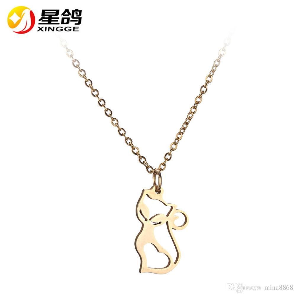 tone moving necklace claire s silver pendant cat